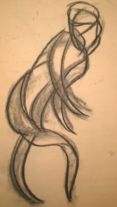 dancer in charcoal (movement drawing), by William Eaton, 2019