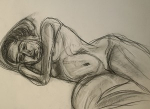 Young woman nude, on side, chacoal sketch by William Eaton, Aug 2019 - 1
