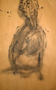Pregnant pixie with sprezzatura, reed pen drawing by William Eaton, 2019