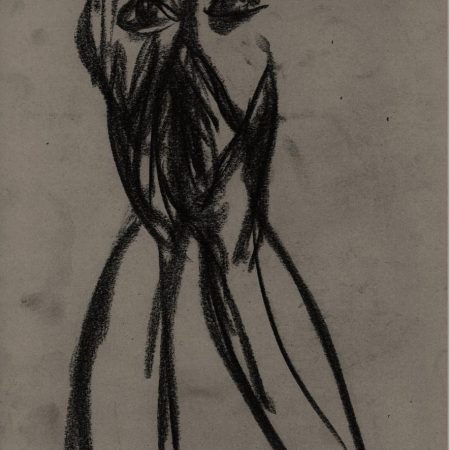 AVW hands over mouth, version 1, from charcoal drawing by William Eaton, 2019