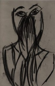 AVW hands over mouth, version 2, from charcoal drawing by William Eaton, 2019