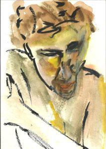 Concerned head, sketch by William Eaton (Nomi modeling), December 2019
