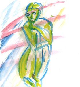 Accroupie en jaune, avec du rouge, watercolor by William Eaton, 2020