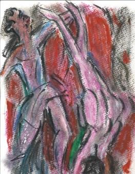 Après Christian Rohlfs, Akrobaten (Acrobats), by William Eaton (oil pastel and brush pen), 2020