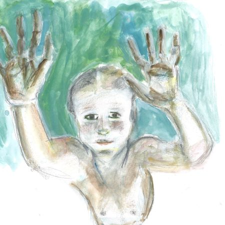 Child Hands Water, drawing by William Eaton (after photo), 2020