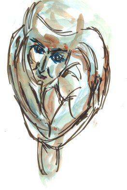 La stravaganza di ieri - Valentina, watercolor and marker by William Eaton, April 2020