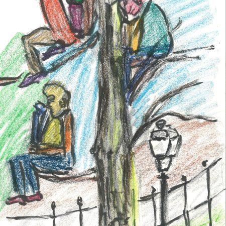 Treed but good, crayon drawing by William Eaton, 2020
