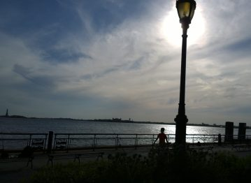 Battery Park with light & Liberty, photo by William Eaton, 19 May 2020
