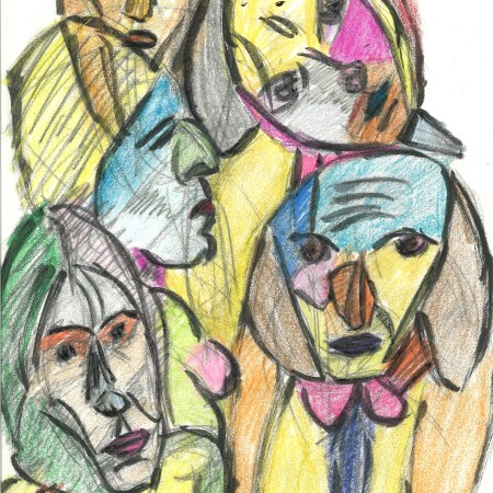 Valentina's faces, more or less, by William Eaton, with crayons, May 2020 - 1