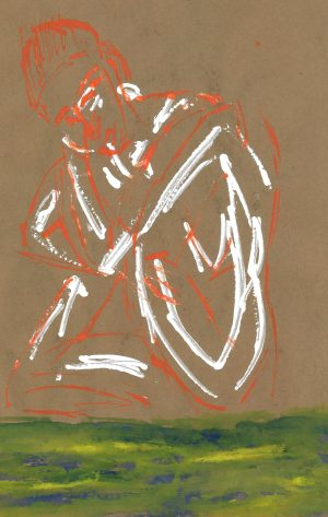 Woman (Maria) outlined in red and white, by William Eaton, May 2020
