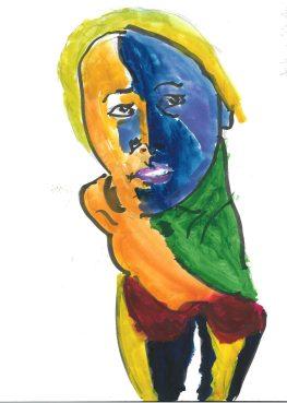 Woman of color, gouache by William Eaton, April 2020