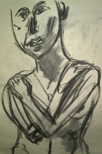 Woman, nude, arms crossed, charcoal sketch by William Eaton, National Arts Club, 2019