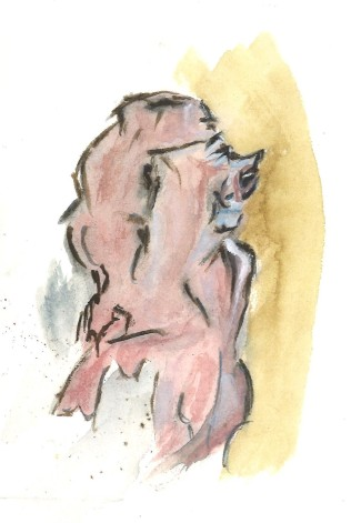 A pinker snow friend, watercolor by William Eaton, 2021