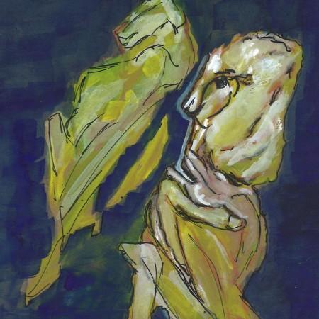 Tweedledum and Tweedledee (snow friends), watercolor by William Eaton, 2021
